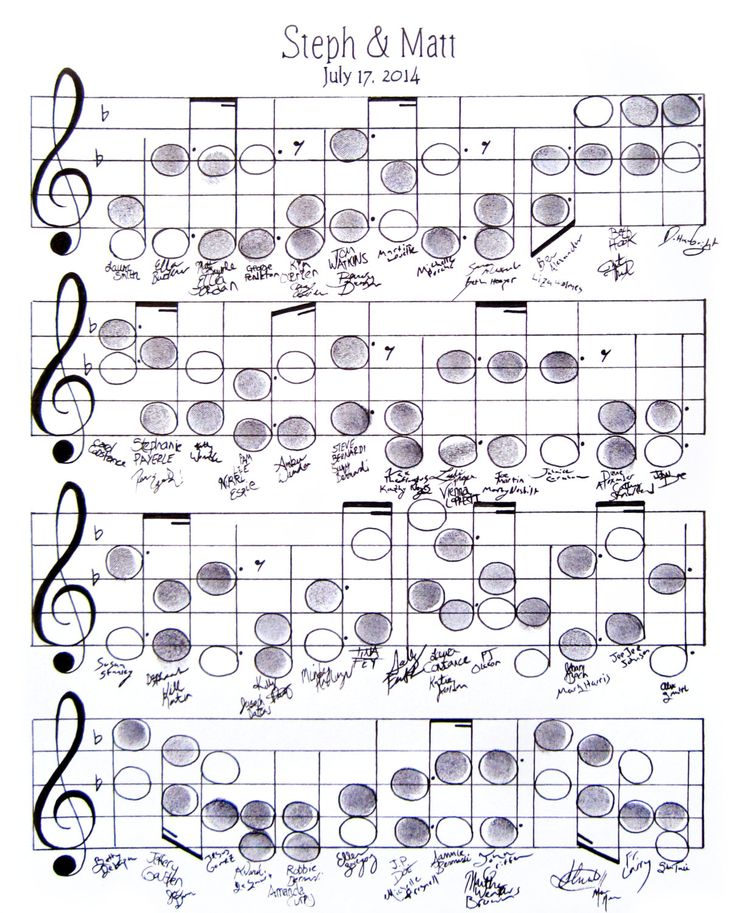 """Wedding Guest Book Alternative, Music Theme, Thumbprint, Sheet Music, Custom Made, 11""""x14"""", Music Note Wall Art Poster, 50-100 guests by SaraAart on Etsy"""
