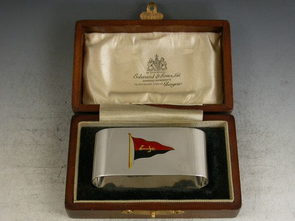 George V Scottish Yacht Club Presentation Silver Napkin Ring | Steppes Hill Farm Antiques | http://www.steppeshillfarmantiques.com/silver-and-porcelain/silver/boxes
