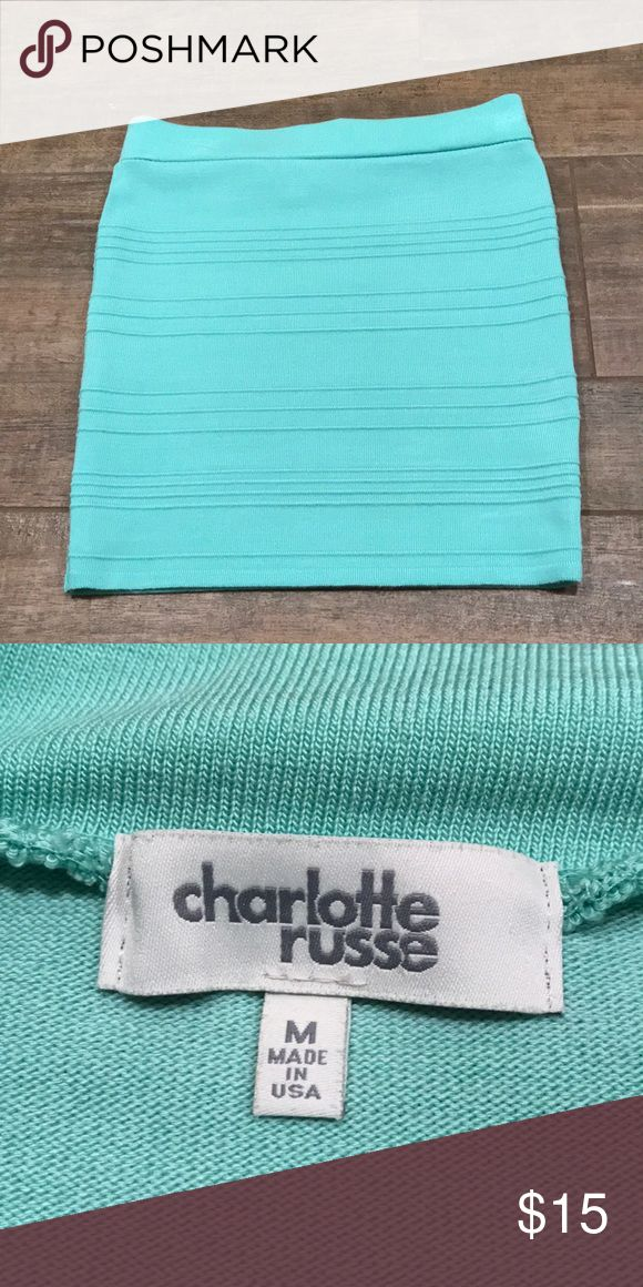 Turquoise tube skirt In great condition. No snags or holes. Charlotte Russe Skirts