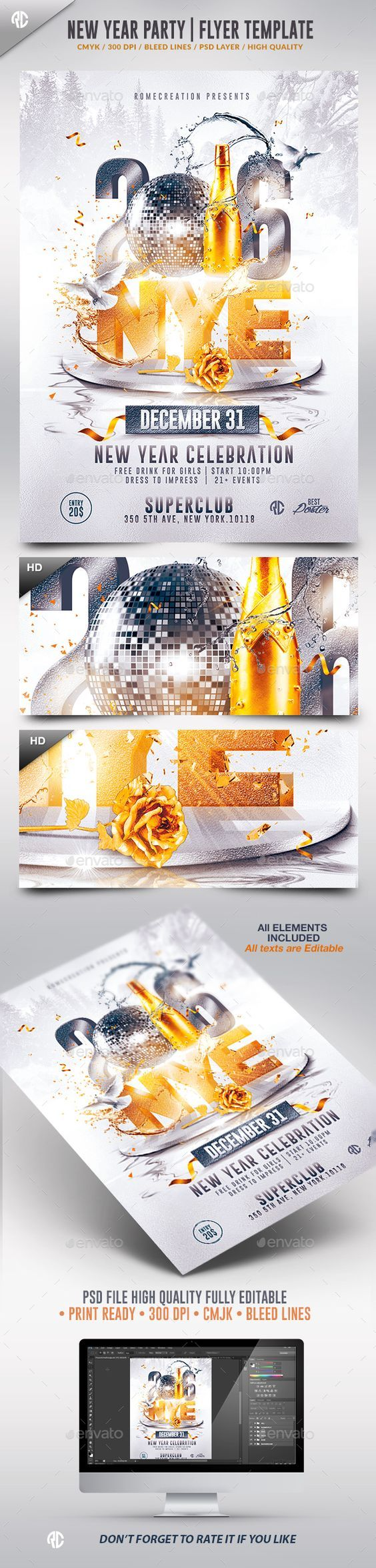 New Year  2016 Flyer Template PSD #design #nye Download: http://graphicriver.net/item/new-year-2016-nye-flyer-template/13504030?ref=ksioks: