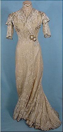 c. 1909 Edwardian Trained Battenburg Lace Gown with Gold Lame Trims
