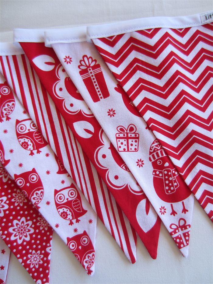 Christmas Bunting - Red and White - Birds and Owls - 3 mtrs | by LittleStarrs |