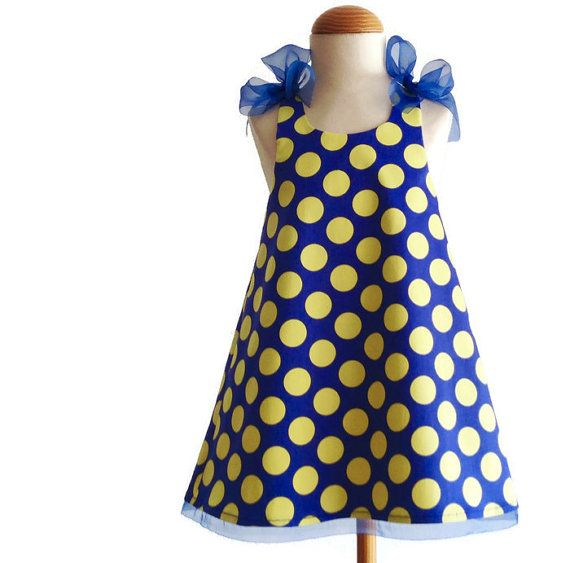 3T dress 3T blue and yellow dots baby girl dress by pipocass