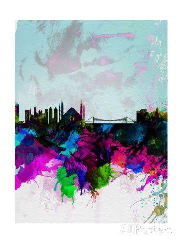 Istanbul Watercolor Skyline - Konst av NaxArt på AllPosters.se
