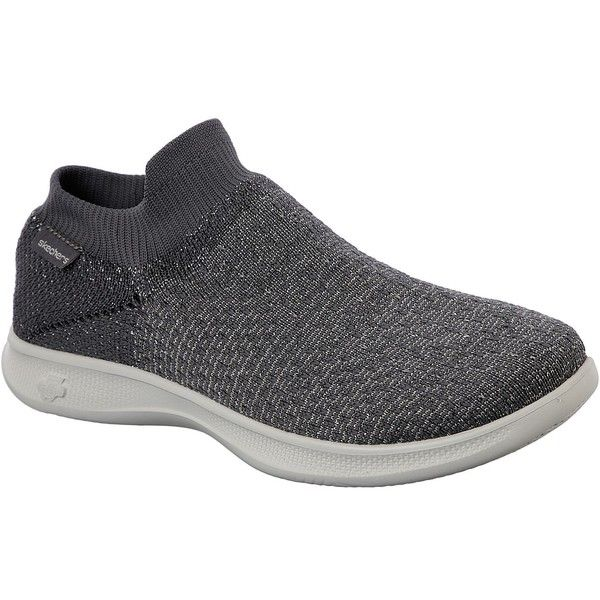Skechers Women's Skechers Go Step Lite - Flair Gray - Skechers... ($62) ❤ liked on Polyvore featuring shoes, sneakers, grey, gray shoes, grey trainers, grey shoes, gray slip on sneakers and skechers footwear