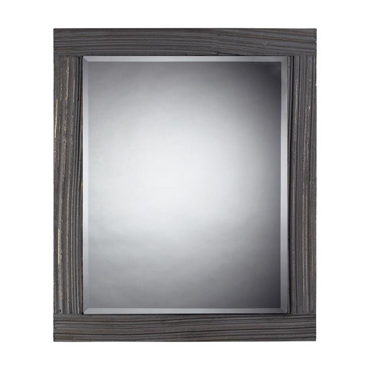 Solid Wood Distressed Grey Wall Mirror