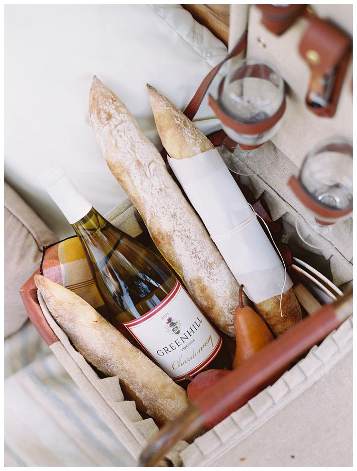 A beautiful picnic basket for an afternoon at Greenhill Winery & Vineyards. Image by Abby Jiu.
