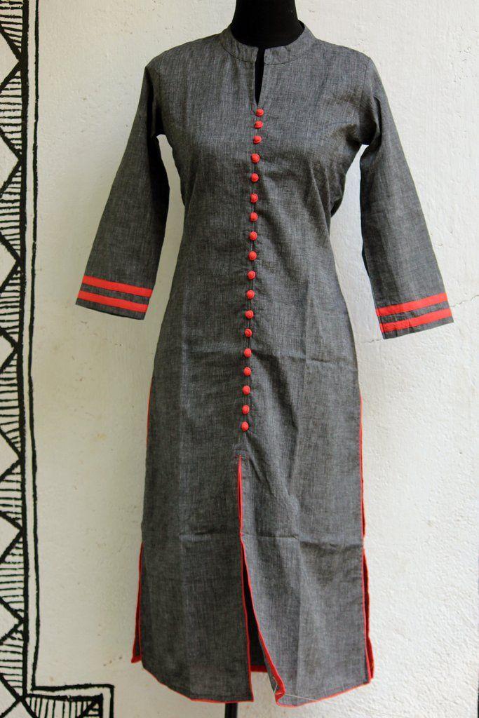 long kurta - grey black orange & poppins