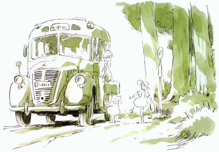 part 1 'My Neighbor Totoro' animated movie concept art by creator & director: Miyazaki