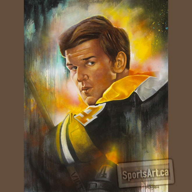 """""""Number Four"""" painting of Bobby Orr by Gary McLaughlin."""