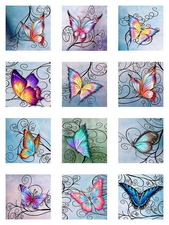 Butterflies Swirls Pastel Watercolor Paper Digital by pixeltwister