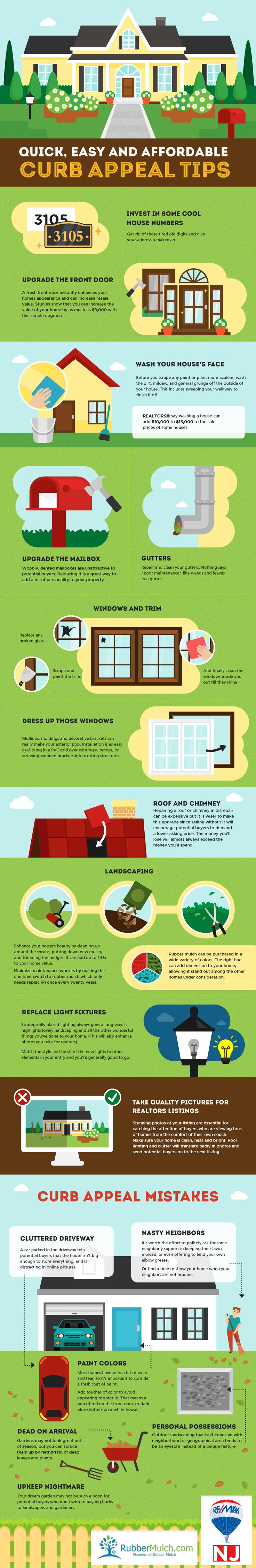 Looking to earn some extra home improvement points? RubberMulch teamed up with Remax-NJ to help you achieve curb appeal via an infographic filled with expert tips!  Check it out, on the blog: http://rubbermulch.com/blogs/rubbermulch/80959681-curb-appeal-infographic