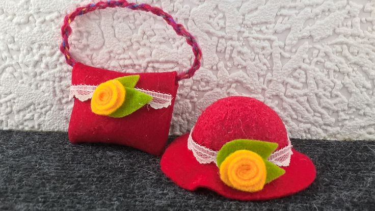 Red felt hat and purse for Barbie. Hand made OOAK hat and bag for 12inch fashion doll. Hand made yellow flower decoration. Barbie accessory. by Nobodyknitsitbetter on Etsy