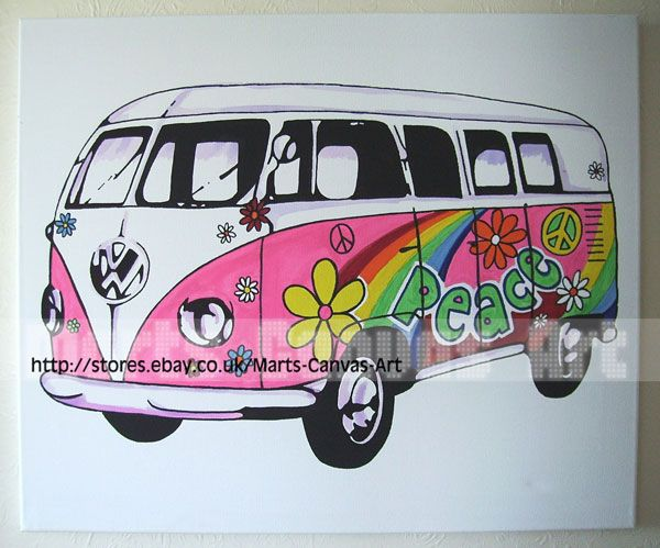 VW Hippy Camper Van   by ~MartsKustomArt  Traditional Art / Paintings / Pop Art©2008-2011 ~MartsKustomArt    VW Camper van/bus Pop Art canvas Hand painted!