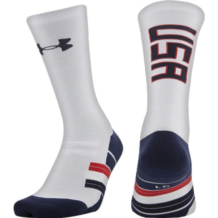Under Armour Unrivaled USA American Crew Socks, Size: Medium, White