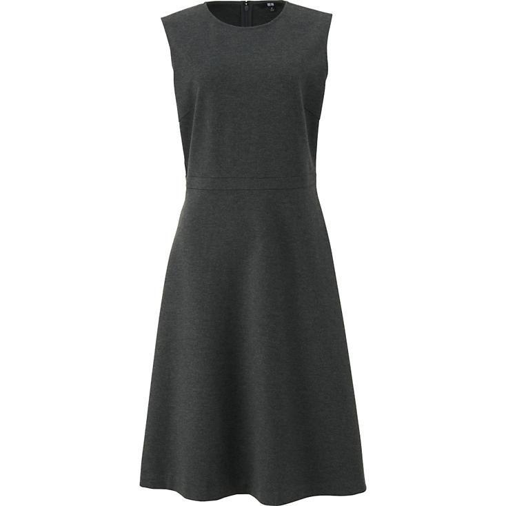 WOMEN PONTE FLARE SLEEVELESS DRESS | UNIQLO