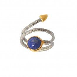 Bague Maddy en argent avec Lapis Lazuli de la Maison Elicce en originale forme de serpent! #bague #ring #anillo #bijoux #jewelry #lapislazuli #argent