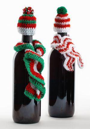 Crochet Wine Bottle Hats Lion Brand Yarns Pattern Celebrate the Christmas holiday with decorative bottle decorations—a great idea for a hostess or office gift.
