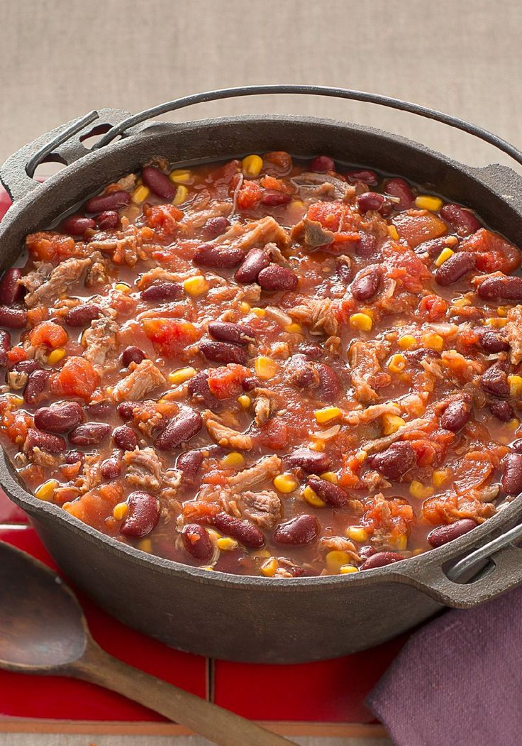 Pulled Pork Halftime Chili – ure, you can serve this 30-minute pulled-pork chili during halftime. Or you could make it during halftime—and enjoy it after the game!