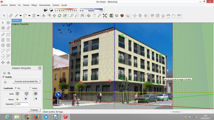 Enlace youtube edificio modelado:  https://www.youtube.com/watch?v=WLcdtXtTMac  Enlace al bolg: http://modelandoedificioen3d.blogspot.com.es/2015/05/sketchup-modelando-un-edificio-3d.html