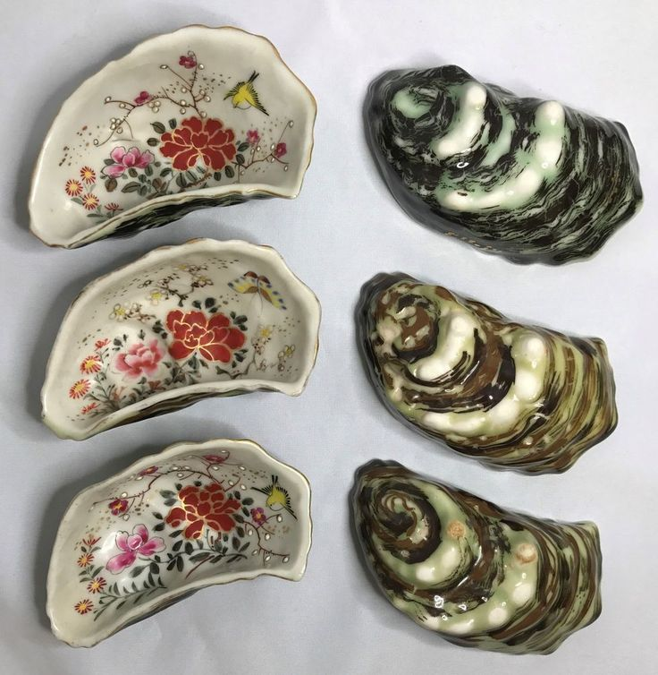 Vintage Oyster Shell Shaped Hand Painted Dish Set of 6 Birds Butterflies Flowers #Japanese
