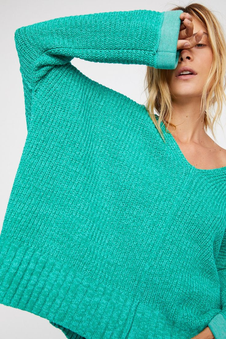 Oversized turqoise green v-neck knitted sweater