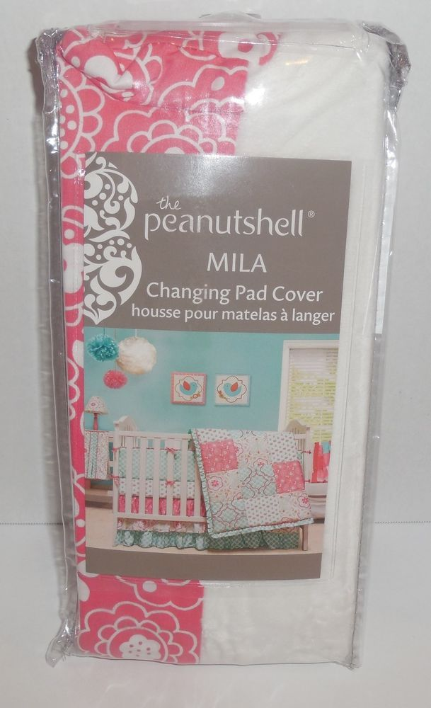 The Peanutshell Mila Changing Pad Cover Pink White Girls 140877 Flowers New Thepeanutshell Pink Changing Pad Cover Changing Pad Cover White Changing Pad Cover