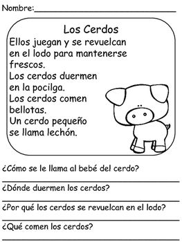 On The Farm- Reading Comprehension In Spanish