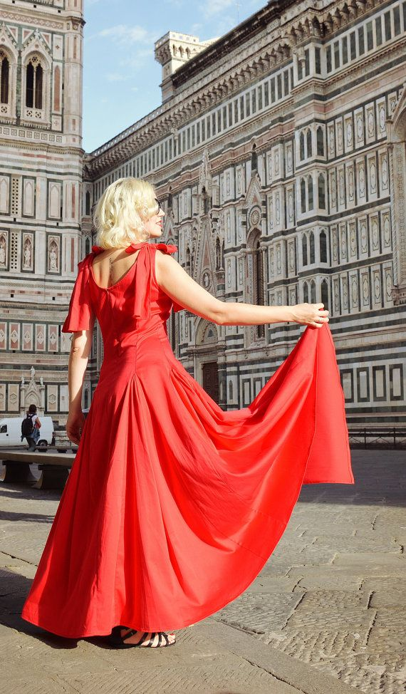 Extravagant Red Dress / Cotton Red Dress / Fabulous by Teyxo