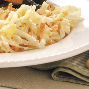Hawaiian Coleslaw Recipe -Pineapple adds pizzazz to traditional coleslaw, introducing both color and sweetness. A fast side dish, it's sure to be in demand at your next barbecue. —Cheryl Dolan, Innerkip, Ontario