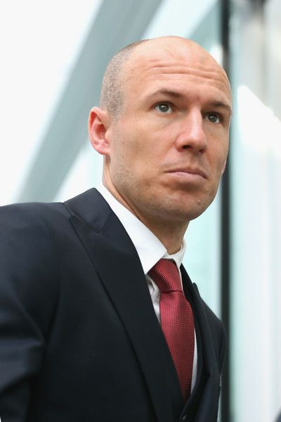 Arjen Robben of Bayern Muenchen arrives with the team at Munich International Airport Franz-Josef-Strauss to depart of the UEFA Champions League match against Juventus Turin on February 22, 2016 in Munich, Germany.
