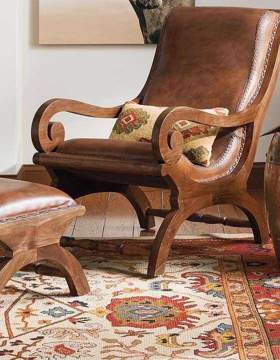 Relax in timeless style on the handsomely crafted Augusto Chair and Ottoman; the perfect piece for any room.
