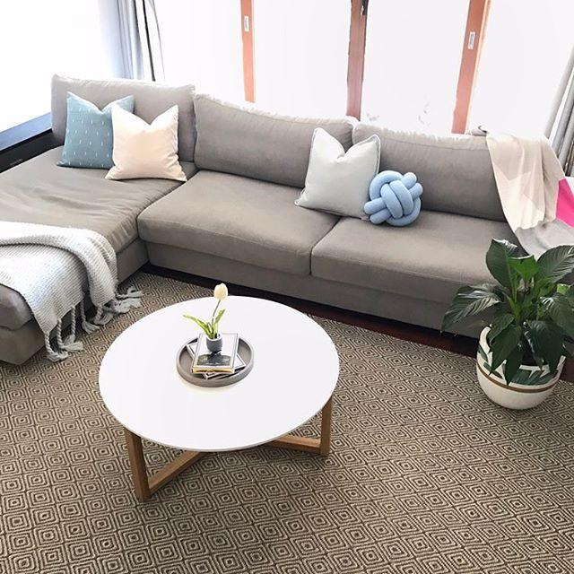Scandi modern living room   Milk & Sugar cushions  Palm leaf pot  Diamond Rug  Knot cushion