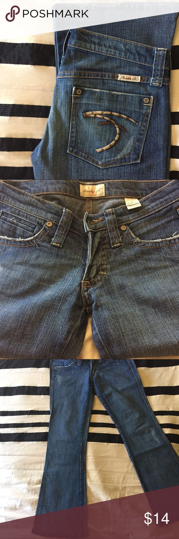 """Frankie B 27.5"""" Inseam Flare Jeans Please note, these jeans have been professionally hemmed. They'd be perfect if you're 5'0""""! Really low waisted flare jeans; front rise is 6.5"""". Inseam is approximately 27.5"""". Leg opening is 18"""". 99% cotton and 1% spandex.❗️Price on this item is final❗️ Frankie B. Jeans Flare & Wide Leg"""