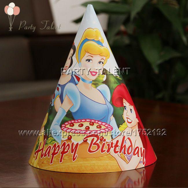 Ну вечеринку поставляет 20 шт. девушки детей три принцесса тема ну вечеринку, день рождения ну вечеринку бумаги украшения cap hat синий мультфильм шаблон