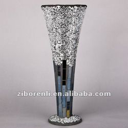 Modern Home Accessory Silver Grey Crackle Mosaic Antique Tall Trumpet Glass Vases