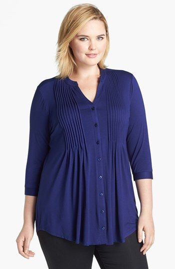 Evans Pintucked Jersey Shirt (Plus Size) available at #Nordstrom