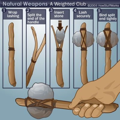 HowStuffWorks Complex Wilderness Tools - Making a weighted club- One of these days I'm going to try this at the park and see what happens.