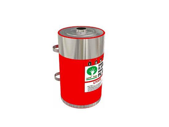 Wertstoffsammler Abfalltrennsystem aus Edelstahl Mak 631 für Akkus geeignet