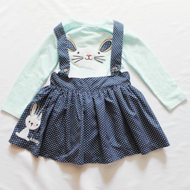 cute rabbit girl set vintage baby girl clothing t shirt with dress 2pcs/set 24M~6T