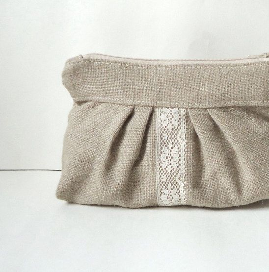 Burlap Pleated Vintage Lace Zipper Clutch - Rustic Wedding - Bridesmaid Gift. $26.00, via Etsy.