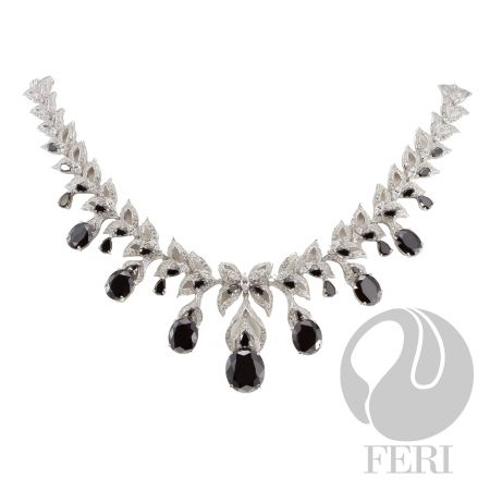 """FERI 950 - After Midnight - Necklace  - Exclusive 950 fine sterling silver - Exclusive dual natural rhodium and palladium plating  - Set with AAA white cubic zirconia and black cubic zirconia - Length: 16.25"""" + 4"""" extender with lobster clasp  Invest with confidence in FERI Designer Lines."""