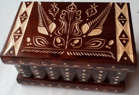 New big nut brown wooden puzzle box jewelry box magic box mystery box  secret box tricky trinket box handcarved  box hidden place