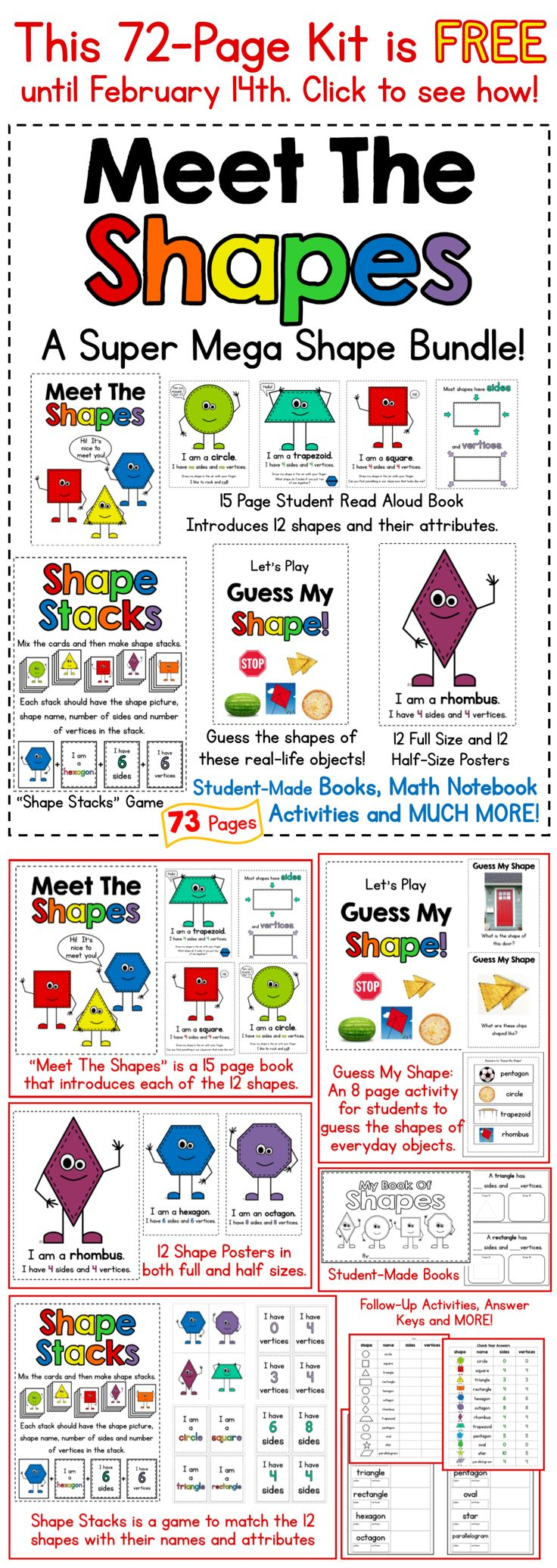 "Get this 72-Page ""Meet The Shapes"" Kit free in February when you follow Mrs. Gilchrist's store at Teachers Pay Teachers. You will get a free kit each month - no strings attached! Click on the pin to find out how..."