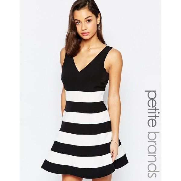 Paper Dolls Petite Stripe Colourblock Prom Dress (1,725 MXN) ❤ liked on Polyvore featuring dresses, multi, petite, prom dresses, striped fit and flare dress, white dresses, fit flare dress and v neck dress