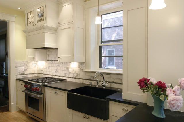 White Cabinets Black Apron Front Sink Kitchen