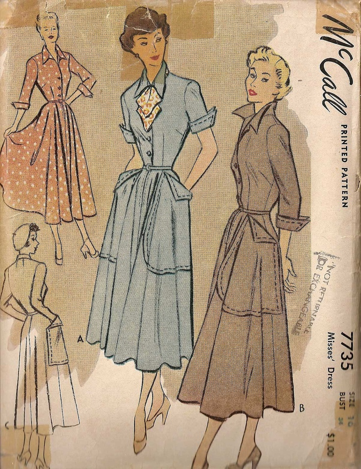 Vintage 1940s McCalls DRESS Pattern 7735 VERY Christian Dior 'New Look' Classic Hollywood. $18.00, via Etsy.