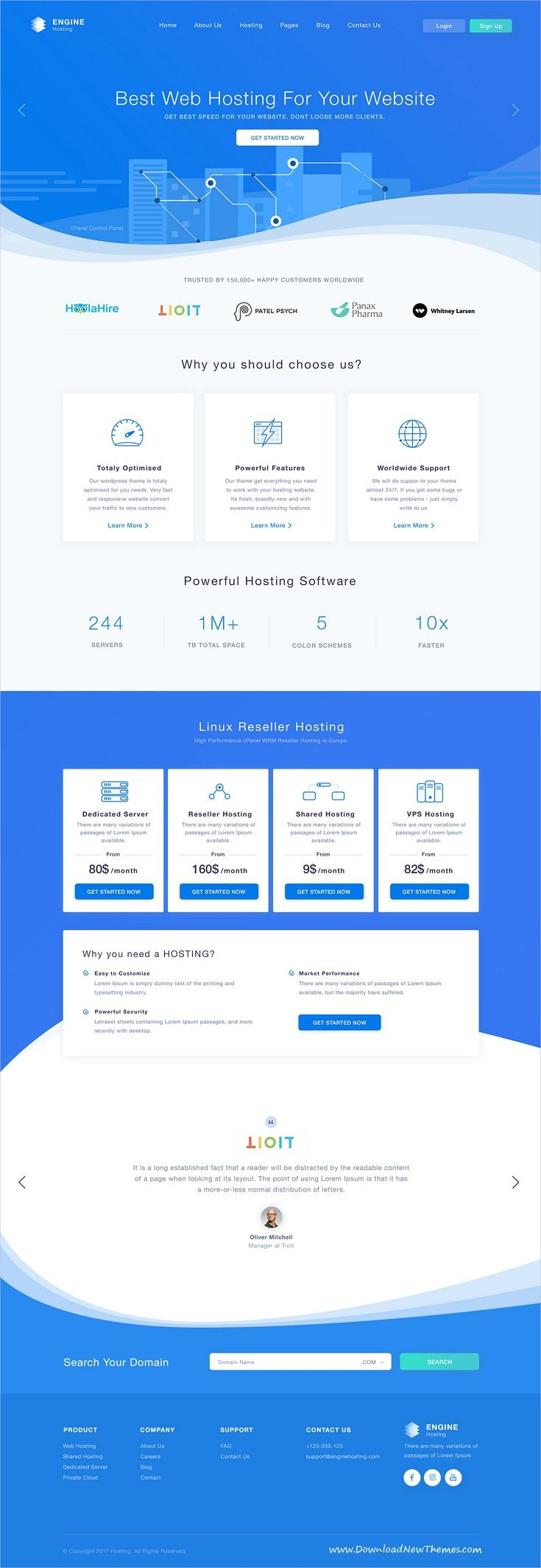 Engine Hosting is clean and modern design #PSD template for web #hosting and #domain registration services website with 26 layered PSD pages to live preview & download click on Visit