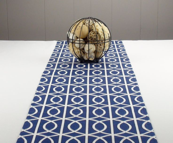 Modern Navy Blue Table Runner, White Table Runner, Blue Tablecloth   Blue  Color,