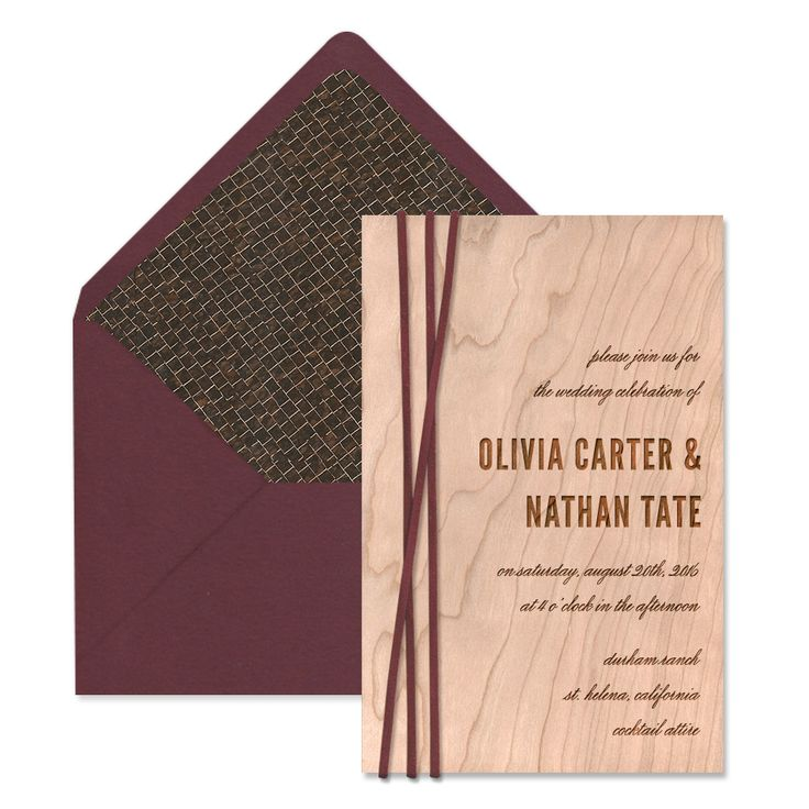how to return address wedding envelopes%0A The Cypress Suite   Wood Engraved Wedding Invitations   Marsala Wedding  Invitations   Suede Cord Tie